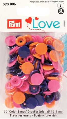 Love Color Snaps blandade Lila, Cerise och orange 30 st