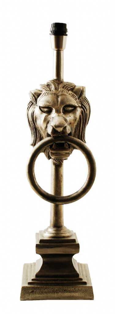 Lion | Bordslampa antik Silver