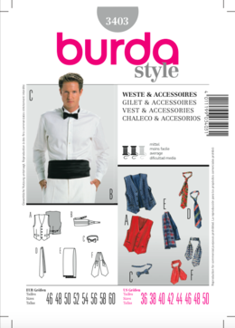 3403. Burda Herr - BURDA STYLE PATTERN 3403 , VEST & ACCESSORIES