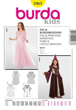 2463. Burda Barn - CHILDREN'S FAIRY & CASTLE PRINCESS COSTUME