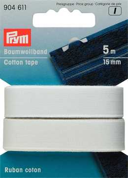 PRYM - Bomullsband 15 mm VIT, 5M