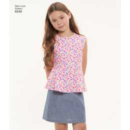 New Look 6549 - Top Byxa Kjol - Flicka