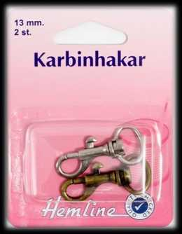 KARBINHAKE 2 x 13 MM SORT. FÄRGER