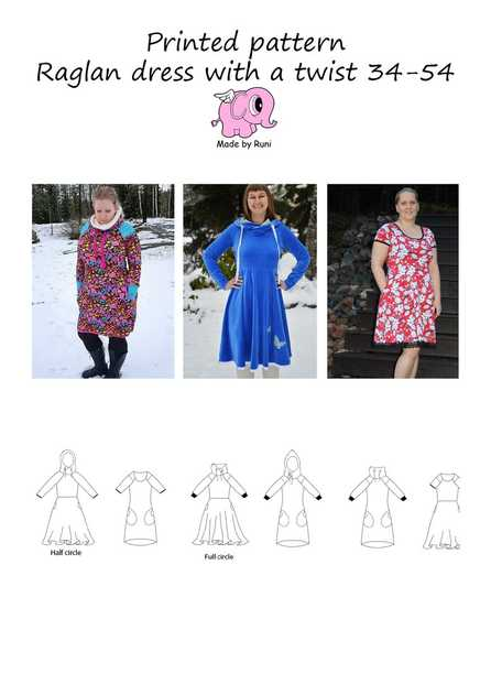 903. Raglan Dress with A Twist str. 34-54 / MADE BY RUNI
